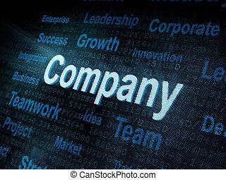 pixeled, companhia, palavra, tela, digital