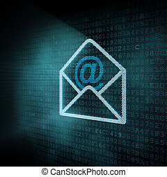Pixeled mail envelop illustration, 3d render