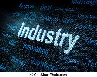 pixeled, palabra, industria, en, digital, pantalla