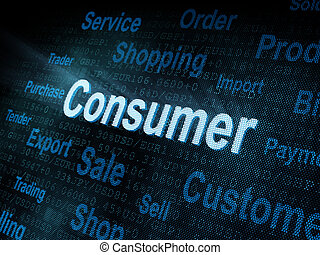pixeled, schermo, parola, consumatore, digitale