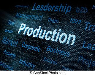 pixeled, schirm, produktion, wort, digital