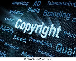 pixeled, schirm, wort, copyright, digital