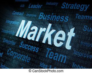 pixeled, schirm, wort, markt, digital
