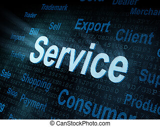 pixeled, schirm, wort, service, digital