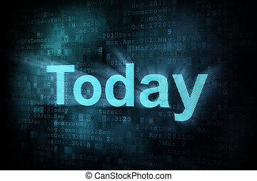 pixeled, timeline, tela, hoje, digital, palavra, concept: