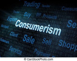 pixeled, woord, consumentisme, op, digitale , scherm
