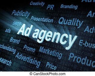 Pixeled word Ad agency on digital screen