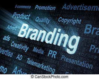 Pixeled word Branding on digital screen 3d render