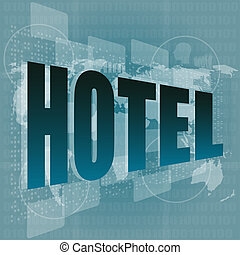 Pixeled word hotel on digital screen - business concept