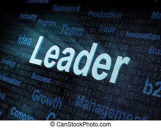 Pixeled word Leader on digital screen