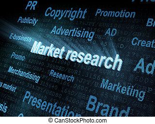 Pixeled word Market research on digital screen 3d render