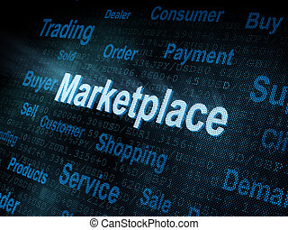 Pixeled word Marketplace on digital screen 3d render