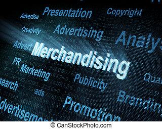 Pixeled word Merchandising on digital screen 3d render