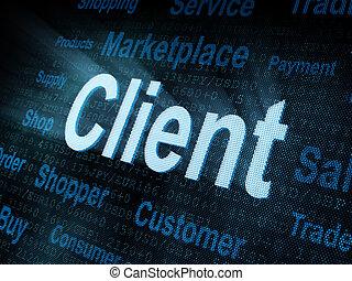 pixeled, wort, klient, auf, digital, schirm