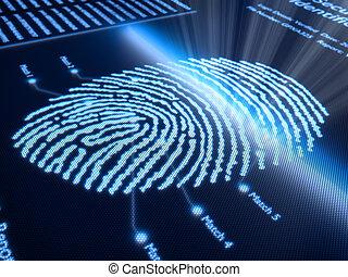 pixellated, schermo, impronta digitale