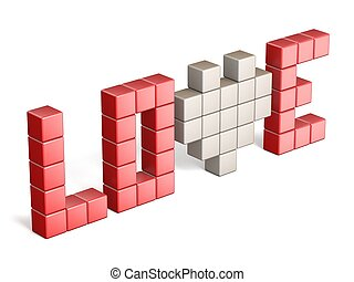Pixels forming the word love 3D