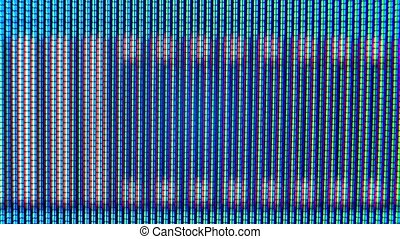 Pixels in the working old analog TV screen close up. Red, blue and green dot create the image on the screen. Analogue retro TV settings menu in extreme close up