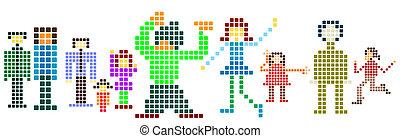 pixels; - pixels silhouettes; kids, men, women