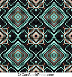 pixels vintage geometric background seamless pattern vector illustration
