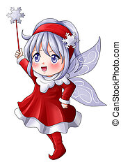Pixie - Cartoon illustration of a Christmas pixie