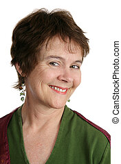 Pixie Cut - A cute middle aged woman with a short pixie...