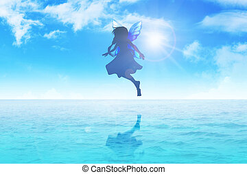 Pixie - Silhouette illustration of a pixie flying on blue...