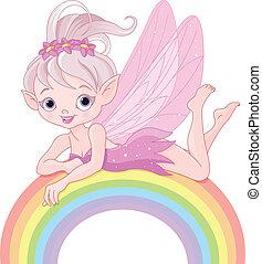 Pixie fairy on rainbow - Illustration of beautiful pixie...