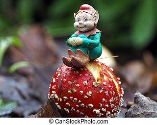 Pixie model on a mushroom