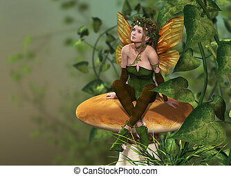 Pixie on a Mushroom - a little fairy is sitting on a...