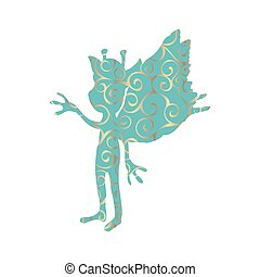 Pixie pattern silhouette mythical animal fantasy