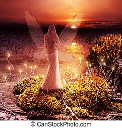 pixie, world., magia, pôr do sol, fantasia