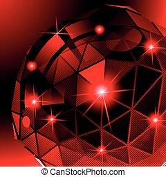 pixilated, cibernético, plástico, brillante, modelo, 3d, fondo, refl
