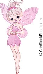 Pixy Fairy - Illustration of cute pink Pixy fairy
