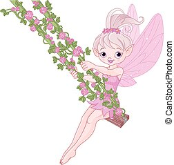 Pixy Fairy on a Swing - Illustration of Pixy fairy on a...