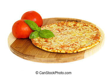 pizaa quatrro fromaggi (four cheese) with fresh tomatoes