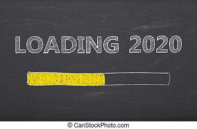 pizarra, 2020, mensaje, carga