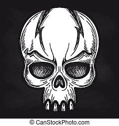 pizarra, agressive, monstruos, cráneo