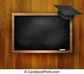 pizarra, cap., graduación, vector.