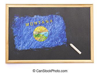 pizarra, con, el, bandera nacional, de, montana, dibujado, on.(series)