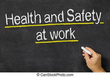 pizarra, con, el, texto, salud y seguridad, en el trabajo