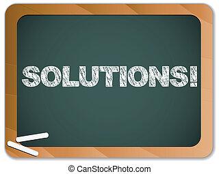 pizarra, con, soluciones, mensaje, escrito, con, tiza