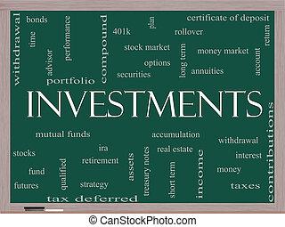 pizarra, concepto, palabra, inversiones, nube