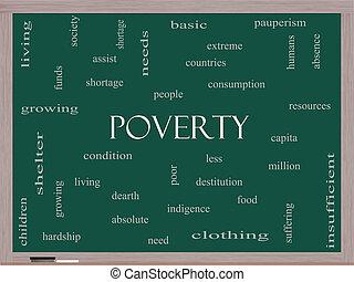 pizarra, concepto, palabra, nube, pobreza