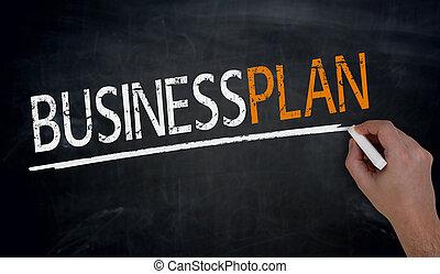 pizarra, escrito, businessplan, mano