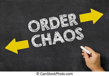 pizarra, escrito, orden, caos, o