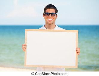 pizarra, joven, plano de fondo, guapo, playa, hombre