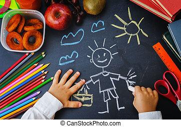 pizarra, manos, childrens, escritura