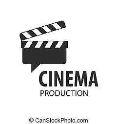 pizarra, películas, vector, tabla, logotipo, disparando
