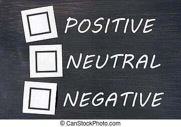 pizarra, positivo, neutral, reacción, negativo