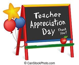 pizarra, profesor, aprecio, día, estrellas, caballete, globos, niños
